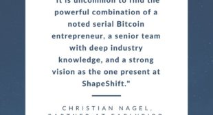 Cryptocurrency exchange ShapeShift secures 104M in series A round