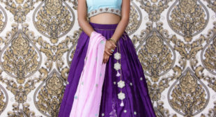 A beautiful Cyan Violet Lehenga by Varuna Jithesh