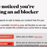 Salon asks ad-blocking users to opt into cryptocurrency mining instead